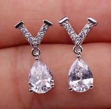 """18K White Gold Filled - Letter """"V"""" Teardrop Topaz Zircon Gemstone Stud Earrings"""