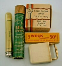 (5) Vintage Shaving Items, Rolls razor Strop Dressing, Weck razor blades + other
