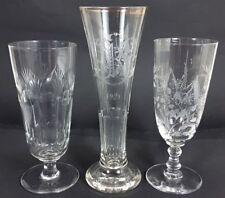 3 VERRES / verres à bière, main, gravée, Coupé à la main, um 1900 al347