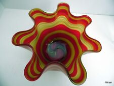 Hand Blown Glass Art Bowl Centerpiece Red Yellow Floral Display
