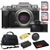 FUJIFILM X-T4 Mirrorless Digital Camera (Body Only, Silver) Accessory Kit