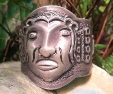 Peruvian Tribal Face Mask Silver 900 Wide Repousse Cuff Handmade Bracelet Peru
