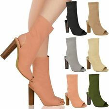 New Womens Ladies Summer Ankle Sandals Open Toe Celeb Stretchy Boots Shoes Size