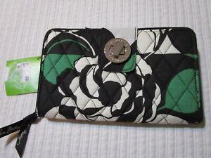 NWT Vera Bradley Turnlock Wallet Imperial Rose Green Large Turnlock MSRP $54
