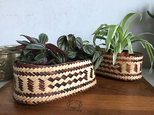 "Handmade Woven Stripped Bamboo Black Grass ""htin"" Thia Basket Box Mini Planter"
