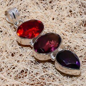 "Amethyst, Garnet Gemstone Ethnic Handmade Gift Jewelry Pendant 2.36"" N168"