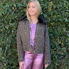 Leopard Denim Jacket With Faux Fur Collar
