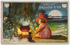 Halloween Child Witch Cauldron Black Cat