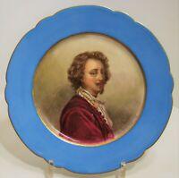 ASSIETTE XIXe tableau portrait VAN DYCK superbe miniature PORCELAINE Vieux Paris