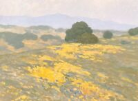 California Gold Wildflowers Poppies Impressionism Landscape Art Oil Painting