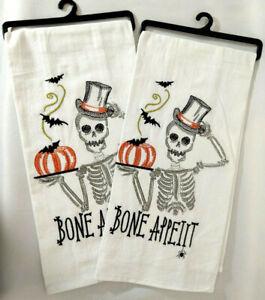 Kitchen Tea Towel Set 2 Skeleton Bone Appetit Halloween Horror Decor Linen Bats