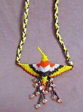 "Native Zuni Made Beaded Hummingbird Multi-color 20"" Necklace 3 strands JN0209"