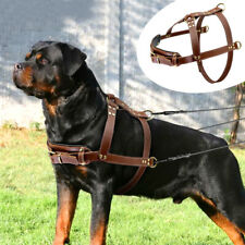 Brown Genuine Leather Dog Harness for Extra Large Breeds German Shepherd Pitbull