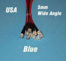 10 x LED - 5mm PRE WIRED 12 VOLT WIDE VIEW ANGLE BLUE FLAT PREWIRED 12V