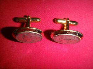 Pair Of Gold Tone Cuff Links LIBERTY HEAD Silver Dimes Year 1940 & 1944