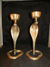 STUNNING VINTAGE X2 BRASS SNAKE COBRA CANDLESTICKS INCENSE HOLDER