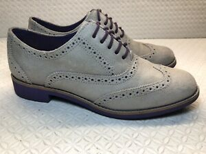 Cole Haan Women's Beige/Purple Leather Wing Tip Lace Up Oxfords Shoes Size-7 B