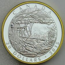 """2015 $20 Tom Thomson, Artist: """"Spring Ice"""" 1 oz Pure Silver Proof, Gold Plating"""