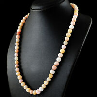 Round Shape 211.00 Cts Natural Pink Australian Opal Beads Single Strand Necklace