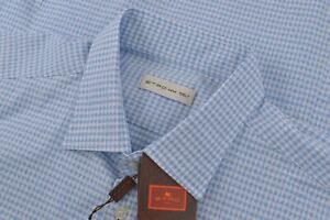 $330 NWT Etro Size US 44 Dress Shirt White Blue Made in Italy Cotton Casual New