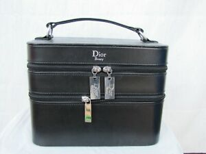 CHRISTIAN DIOR Leather Vanity Case Authentic Black Large Make Up Box.