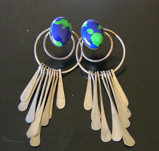 Native American Vtg. Blue-Green Azurite & Sterling Silver Long Dangle Earrings