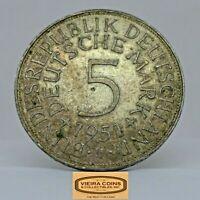 1951-J Germany Silver 5 Mark, Free Shipping -  #C19814NQ