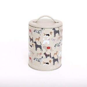 Small Metal Dog Treat Biscuit Food Storage Tin Jar with Lid Container Canister