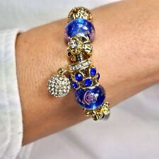 Gold Cubic Zirconia Crystal Disco Ball Love Charms Clasp Bracelet FREE Gift UK