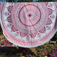 Pink Mandala Tapestry Round Yoga Mat Boho Beach Throw Blanket Wall Hanging Decor