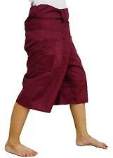 Dark Red Toray - 3/4 Men Women Thai Fisherman Pants Yoga Trousers by Thai Spicy