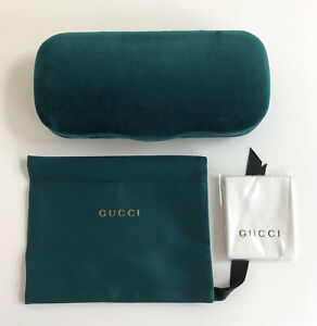 Gucci Eyeglasses Case Gucci Hard Clam Shell Velvet Case Cloth Mens Women Green