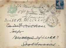 COVER FROM HOTEL CHATHAM PARIS WITH 25c REDIRECTED TO GLASGOW REF 858