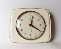 Vintage Art Deco style 1960s Ceramic Kitchen Wall clock JUNGHANS German Decor