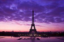 """Paris,Eiffel Tower,France Canvas Pictures 16""""X20"""" Purple Sky Cityscape Prints"""