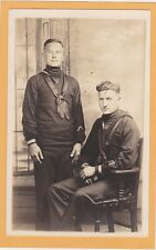 Studio Real Photo Postcard RPPC - Two Sailor -Navy Military