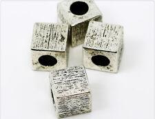 2x Tibetan Metallperlen Würfel 12mm silber ms089
