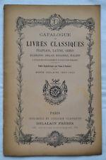 Catalogue de livres classiques - Delalain Frères - 1899