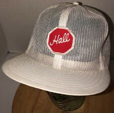 VTG HALL 70s 80s USA White ALL MESH Trucker Hat Cap Snapback Red Stop Sign PATCH