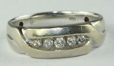 14K WHITE GOLD .33 ct DIAMOND MENS  WEDDING BAND RING
