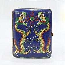 Old or Antique Chinese Cloisonne Enamel Cigarette Case or Box - Dragons - VR
