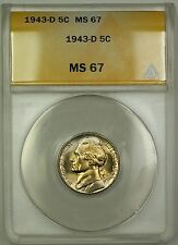 1943-D Wartime Silver Jefferson Nickel Coin ANACS MS-67 (A)