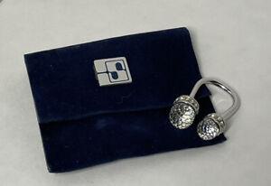 Swarovski keychain with key ring and blue velvet pouch