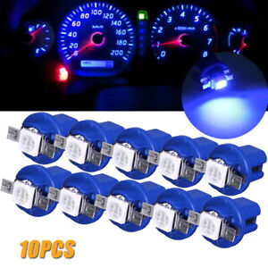 10Pcs T5 B8.5D 5050 1SMD LED Dashboard Dash Gauge Instrument Light Bulbs Blue.