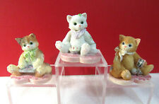 Miniature Calico Kittens Valentine Kitty Cats Lot of 3 Mini Figurines