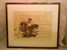 1976 Priscilla Treacy Signed Artist Proof 1st State Sitting on the Stairs Family