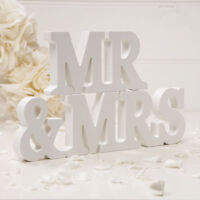 Mr & Mrs Wedding Gift White Wooden Letter Letters And Sign Decoration Table Top