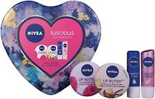 NIVEA Luscious Lip Balm Moments Gift Set for Women 4-piece Xmas Stocking Filler