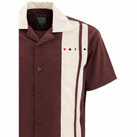 King Kerosin Oldschool  Vintage Rockabilly Bowling Shirt Hemd USA Poker Bordeaux