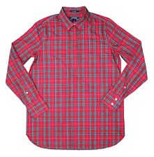 Women's Lands End Red Plaid Pullover Long Sleeve Button Neck Shirt Size 6